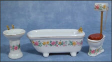 Dolls House Bathroom Set 1:12 Scale Bath Toilet & Sink 12th Scale DF319