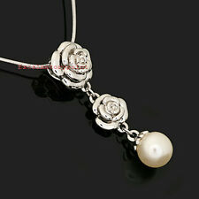 White Gold Plated Crystal Dangle Flower Silver Pearl Wedding Bridal Necklace N34