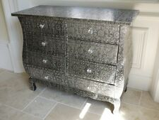 Blackened Silver Embossed 8 Drawer Chest sideboard 85cm marrakesh style