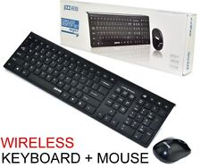 Black 2.4GHz Cordless Wireless Keyboard and Optical Mouse USB Receiver Set