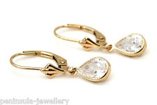 9ct Gold CZ Teardrop LeverBack Earrings Gift Boxed Made in UK