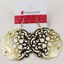 Charming Charlie White Leather Golden Flower Hollow Earring Drop