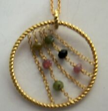18K GOLD OVER STERLING SILVER 2.7 CTW ROUGH TOURMALINE CHAIN GANG PENDANT