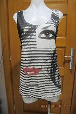 CITY CHIC Black/White Top, Long Sleeveless T Style With Pattern, Sz XS - EUC