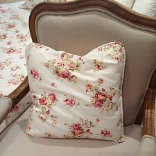 Country Roses cream floral cushion cover with piping edge 45x45