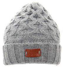 Aran Traditions Womans Ladies Men Winter Warm Knitted Style Grey Beanie Hat