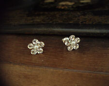 Crystal & Pearl Round Flower Stud Earrings Made with Swarovski Elements