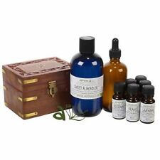 Aromatherapy Starter Kit 6 Essential Oils Carrier Oil Mixing Bottle + Wooden Box