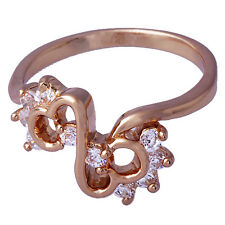 Rose Gold Filled Womens Wedding Engagement Crystal Infinity Lady Rings Size 5