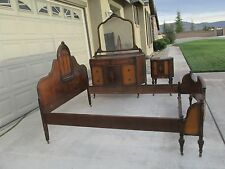 antique 4 piece inlaid mahogany furniture bedroom settable bed armoire antique mahogany armoire