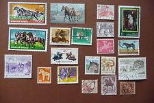 20 verschiedene internationale Motivmarken Pferde - horses - Tiere - animals