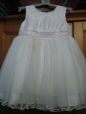 LADYBIRD GIRLS WHITE and PINK EMBROIDERED OCCASION DRESS AGE 12-18 M BNEW
