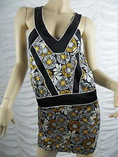 NICOLA FINETTI yellow black white floral print halter neck mini dress size M GUC