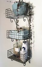 Rustic Wall Shelf Unit Shabby Chic Vintage Industrial Bathroom Storage Cabinet