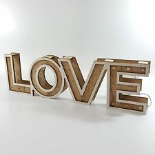 Shabby Chic Wooden LED Light Up Love Sign Decorative Word Plaque