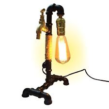 Industrial Retro Style Pipe Desk Table Lamp Light UK Plug