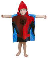 Spiderman Kids Poncho Boys Hooded Towel Marvel Ultimate City Official Design