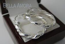 925 Stamped Sterling Silver Hoop Twist Earrings - 35mm - New 08