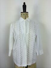 Vtg 1940s French Cotton White Broderie Anglaise Blouse Collar Preppy