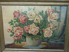 Wunderschönes Blumen Stillleben Rosen Gemälde A. Aftermann Neue Sachlichkeit