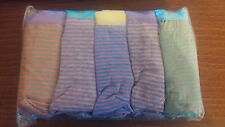 Ladies 95% Cotton Pack of 5 boypant style briefs. Multi coloured stripe Size 12