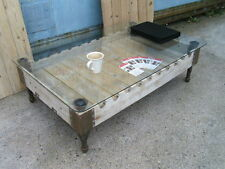 Industrial Vintage French Rifle Gun pallet oak and glass coffee table