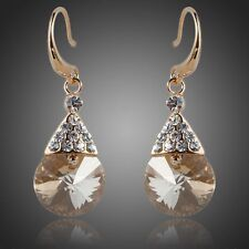 Champagne Earring Gold Crystal Earrings  Champagne Crystal Drop Wedding Earrings