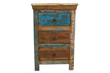 Bedside Table Solid Reclaimed Teak Wood 3 Drawers Bedroom Storage Shabby Chic