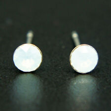 14k white Gold plated simulated Diamond crystals stud men women unisex earrings