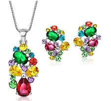Sparkly Colourcrush Austrian Rhinestone AAA Zircon Necklace And Earrings Jewelry