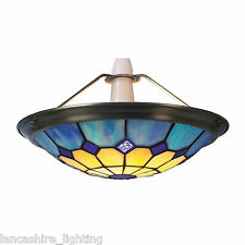 Blue Tiffany Bistro Style Uplighter Ceiling Light Pendant Shade - Small UPL26