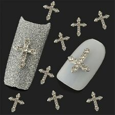 10Pcs 3D Crystal Cross Alloy Rhinestone Tips Nail Art Slices DIY Decorations New
