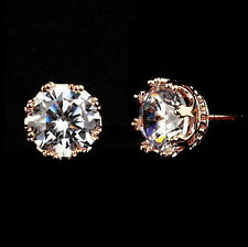 Rose Gold Filled Clear Swarovski Crystal Bridal Wedding Crown Stud Earring XE18