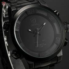 SHARK Black Stainless Steel LED Day Date Quartz Analog Mens Fashion Sport Watch