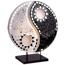 YING YANG Glas Spiegel Tischlampe schwarz weiß BALI LAMPE H=36cm handgefertigt
