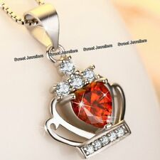 XMAS GIFTS FOR HER - 925 Silver & Red Crystal Diamond Heart Necklace Love Women