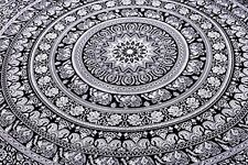 Indian Elephant Mandala Tapestry Hippie Wall Hanging Black White Eco Vegetable