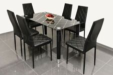 DINING TABLE AND CHAIRS SET - PRINTED GLASS DINING TABLE WITH 6 BLACK CHAIRS
