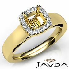 Cushion Diamond Engagement Halo Prong Set 0.2Ct Semi Mount Ring 14k Yellow Gold