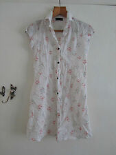 See Through Cream Floral Micro Mini Shirt Dress or Very Long Top - Size 12