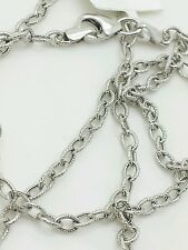 """14k White Gold Textured Oval Cable Link Pendant Necklace Chain 24"""" 2.5mm"""