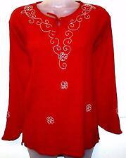 RED BEADED TUNIC TOP HIPPY HIPPIE BOHO FESTIVAL ETHNIC FREE SIZE #H4