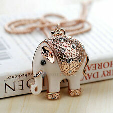 Adorable Elephant Pendant Sweater Chain 18K Gold Plated Crystal Long Necklace