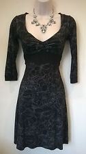 Jane Norman black/silver floral stretchy fitted dress with back tie Size UK 8