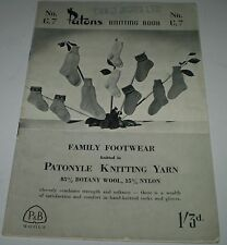 VINTAGE  'PATONS KNITTING BOOK No G7  SOCKS AND GLOVES  HYF