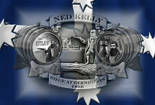 NED KELLY ON EUREKA FLAG  METAL  TIN SIGN A4 30X20cm