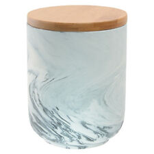 Canister marble grey look matt finish outer & glazed inner with Bamboo Lid 15cm