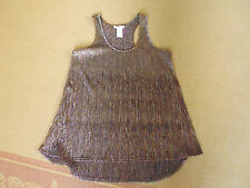 LADIES CUTE BROWN METALLIC THREAD POLYESTER SLEEVESS TOP BY SUPRE - SIZE XS 8/10