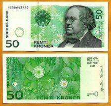NORWAY  2011 UNC 50 Kroner Banknote Paper Money Bill P-46