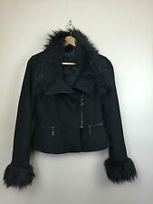 FRENCH CONNECTION Cashmere Winter Black Faux Fur Jacket Coat - Womens Size UK 10